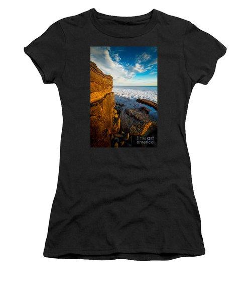 Winter Beach Sunset Women's T-Shirt (Athletic Fit)