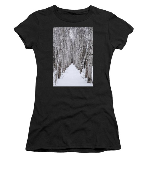Winter Birch Path Women's T-Shirt (Athletic Fit)