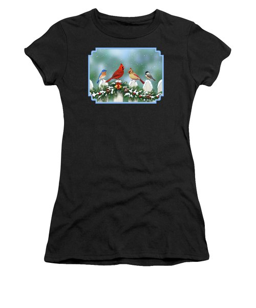 Winter Birds And Christmas Garland Women's T-Shirt (Athletic Fit)