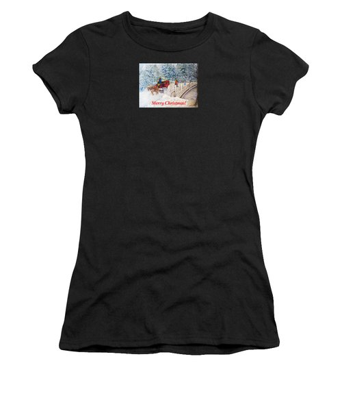 Winter Carriage In Central Park Christmas Card Women's T-Shirt (Athletic Fit)
