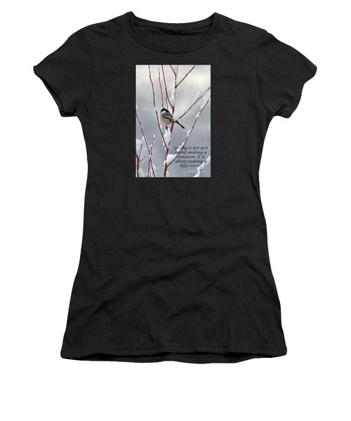 Winter Chickadee Giving Women's T-Shirt (Athletic Fit)