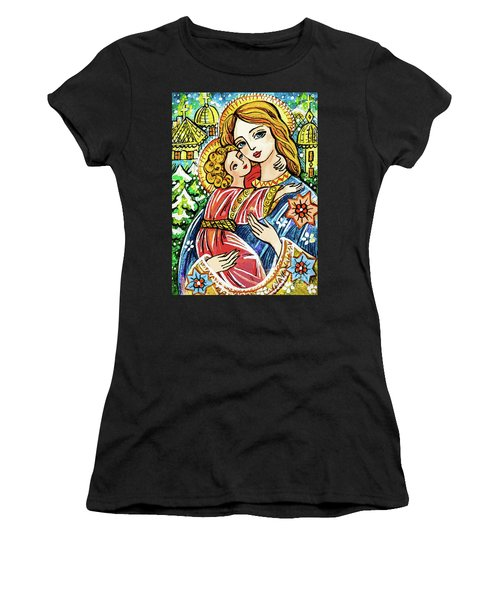 Women's T-Shirt featuring the painting Winter Church by Eva Campbell