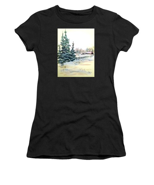 Winter Comes At The Farm  Women's T-Shirt (Athletic Fit)