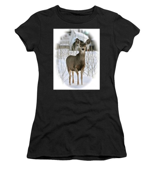 Winter Deer On The Tree Farm Women's T-Shirt