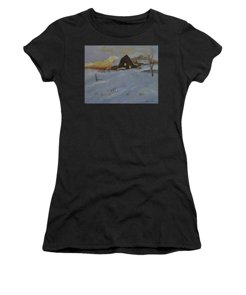 Winter Dusk On The Farm Women's T-Shirt
