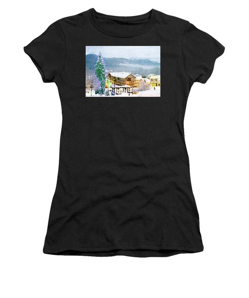 Winter Holiday In The Village Women's T-Shirt (Athletic Fit)