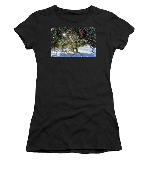Women's T-Shirt (Junior Cut) featuring the photograph Winter Holly by Jessica Brawley