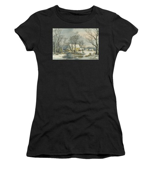 Winter In The Country, The Old Grist Mill, 1864  Women's T-Shirt