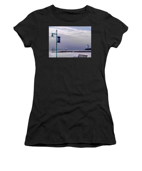 Winter Lights To Rock Point - Derivative Of Evening Sentries At The Coast Guard Station Women's T-Shirt (Athletic Fit)
