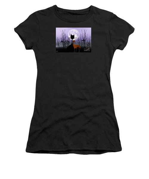 Women's T-Shirt (Junior Cut) featuring the digital art Winter Moon Cats In Love by Rosa Cobos
