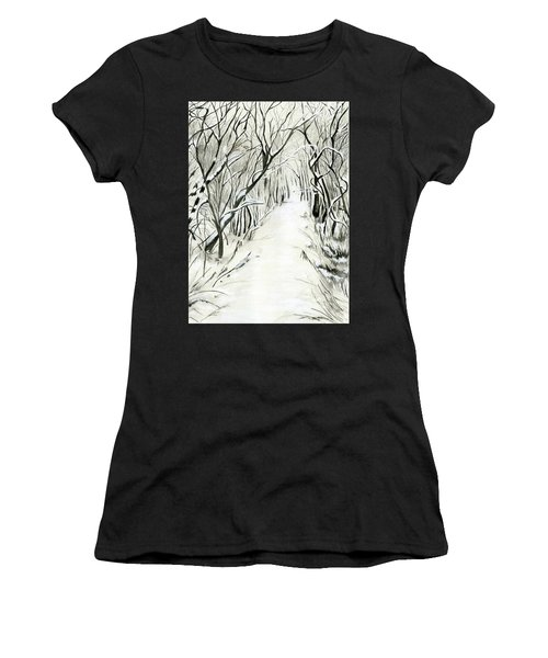 Women's T-Shirt (Junior Cut) featuring the painting Winter Scene by Nadine Dennis