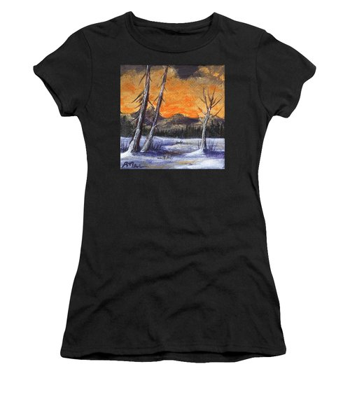 Women's T-Shirt featuring the painting Winter Solitude #1 by Anastasiya Malakhova