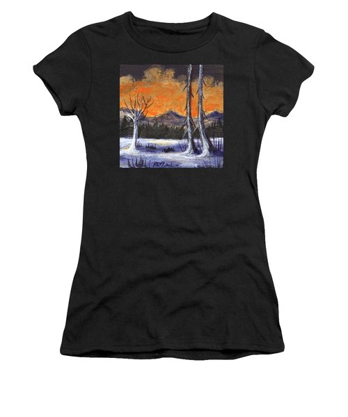 Women's T-Shirt featuring the painting Winter Solitude #3 by Anastasiya Malakhova