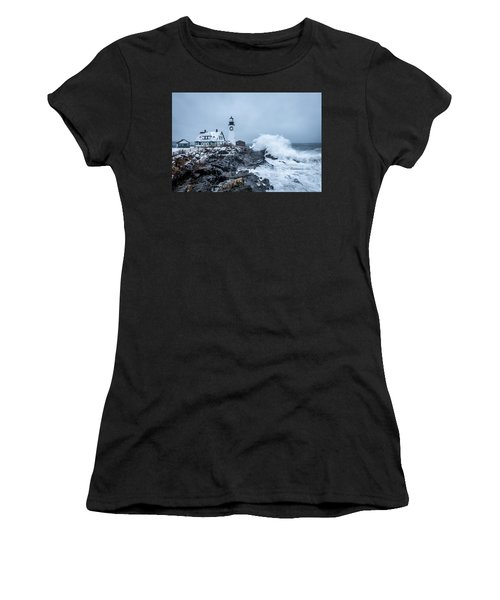 Winter Storm, Portland Headlight Women's T-Shirt (Athletic Fit)