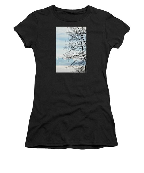 Winter Tree And Alps Mountains Upon The Fog Women's T-Shirt (Athletic Fit)