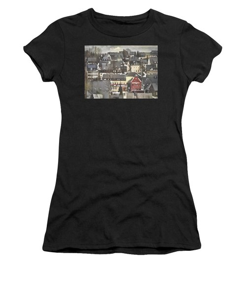 Winter Village With Red House Women's T-Shirt (Athletic Fit)