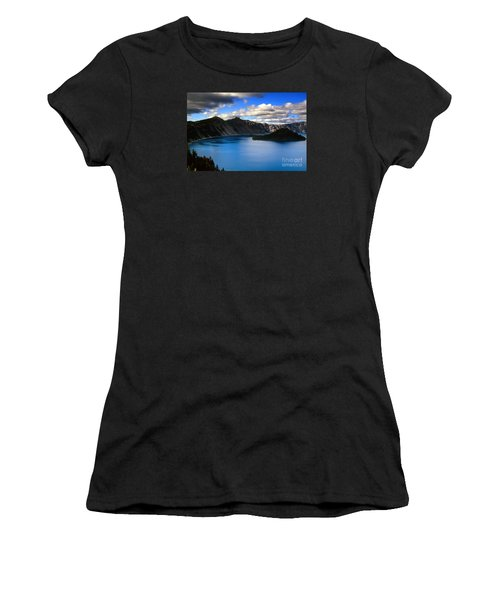 Wizard Island Stormy Sky- Crater Lake Women's T-Shirt (Athletic Fit)