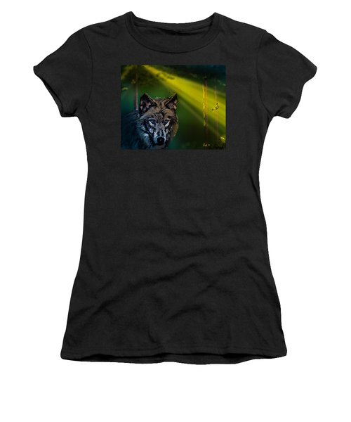 Wolf Of The Dark Wood Women's T-Shirt (Junior Cut) by J Griff Griffin
