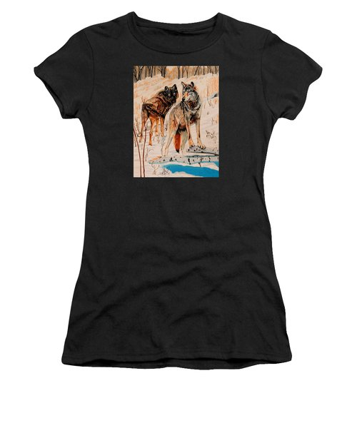 Wolves At Day Break Women's T-Shirt (Athletic Fit)