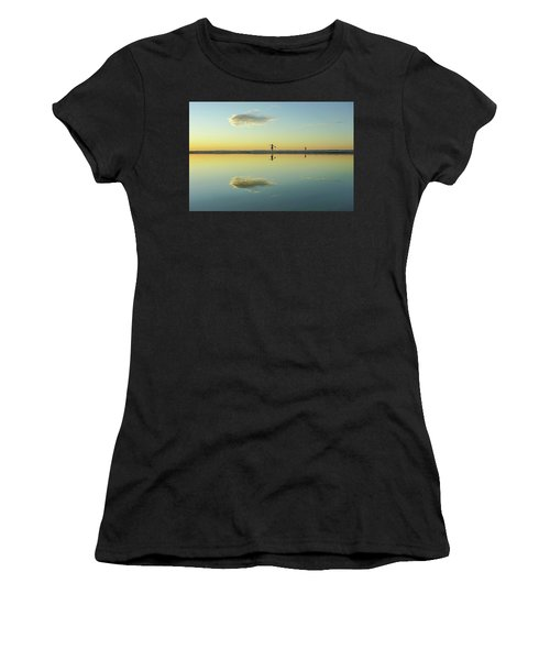 Woman And Cloud Reflected On Beach Lagoon At Sunset Women's T-Shirt
