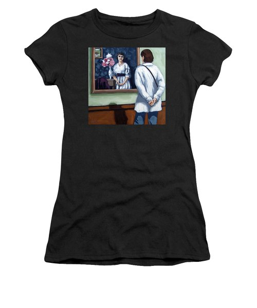 Woman At Art Museum Figurative Painting Women's T-Shirt