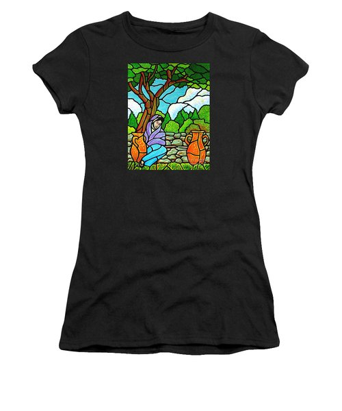 Women's T-Shirt (Junior Cut) featuring the painting Woman At The Well by Jim Harris