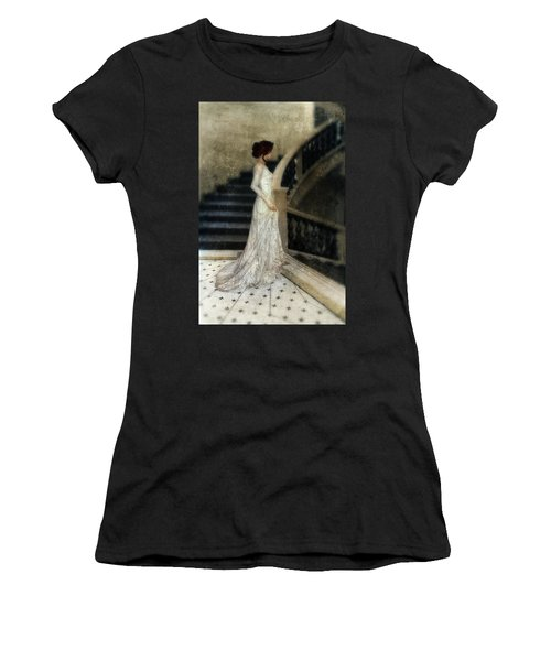 Woman In Lace Gown On Staircase Women's T-Shirt (Junior Cut) by Jill Battaglia