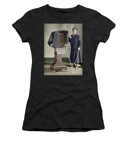 Woman Photographer With Large Camera 1900 Women's T-Shirt (Athletic Fit)