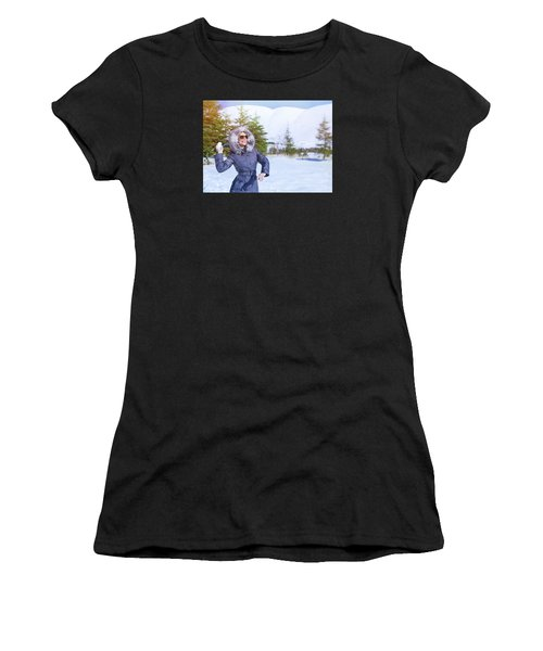 Woman Playing In Winter Park Women's T-Shirt (Athletic Fit)