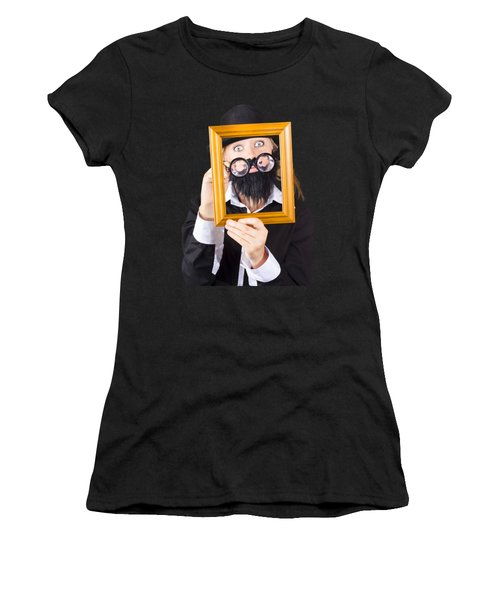 Woman With Empty Picture Frame Women's T-Shirt