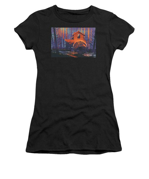 Women's T-Shirt featuring the painting Wooden House by Tithi Luadthong