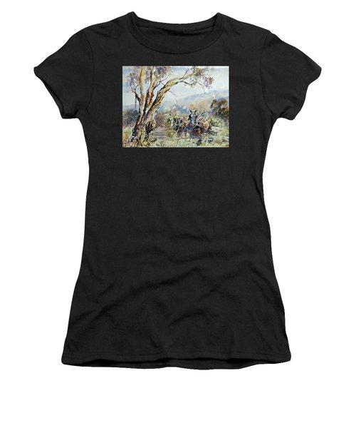 Working Clydesdale Pair, Australian Landscape. Women's T-Shirt