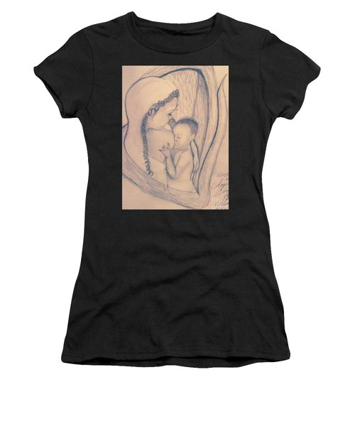 Wrapped Within The Angel Wings Of Momma Women's T-Shirt (Athletic Fit)