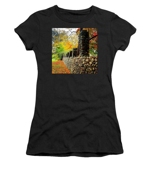 Wright Park Stone Wall In Fall Women's T-Shirt (Athletic Fit)