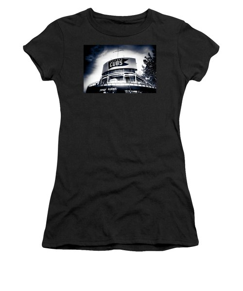 Wrigley Field Bleachers In Black And White Women's T-Shirt (Athletic Fit)