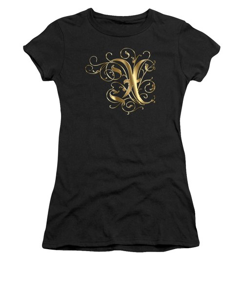 X Golden Ornamental Letter Typography Women's T-Shirt