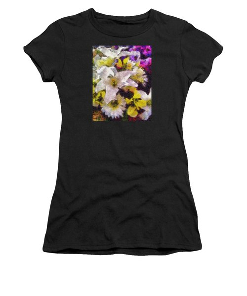 Women's T-Shirt (Junior Cut) featuring the photograph Xtreme Floral Six The White Star by Spyder Webb