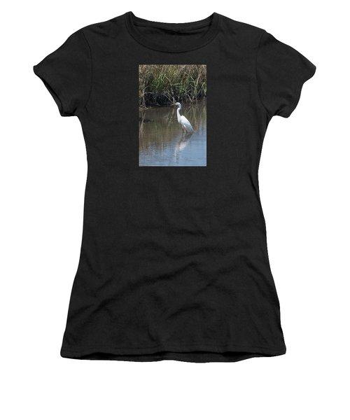 Yawkey Wildlife Refuge - Great White Egret II Women's T-Shirt (Athletic Fit)
