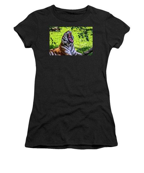 Women's T-Shirt (Junior Cut) featuring the photograph Yawning Tiger by Joann Copeland-Paul