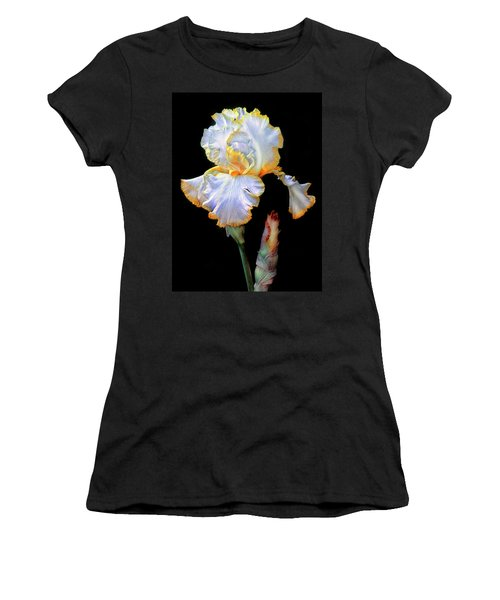 Yellow And White Iris Women's T-Shirt (Athletic Fit)