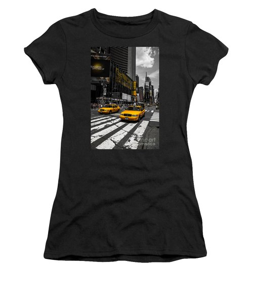 Yellow Cabs Cruisin On The Times Square  Women's T-Shirt