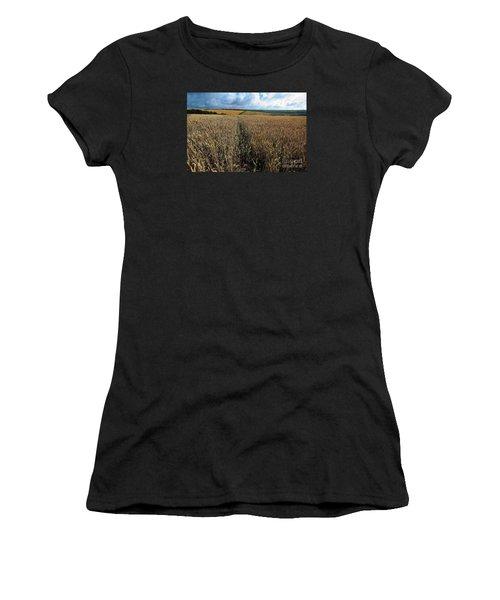 Women's T-Shirt (Junior Cut) featuring the photograph Yellow Filds And Fluffy Clouds by Gary Bridger