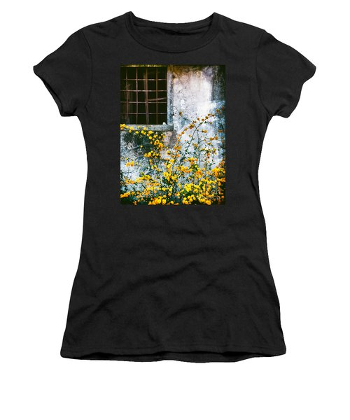 Women's T-Shirt (Junior Cut) featuring the photograph Yellow Flowers And Window by Silvia Ganora