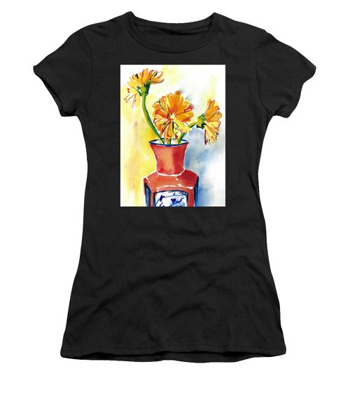Yellow Gerbera Daisies In A Red And Blue Delft Vase Women's T-Shirt (Athletic Fit)