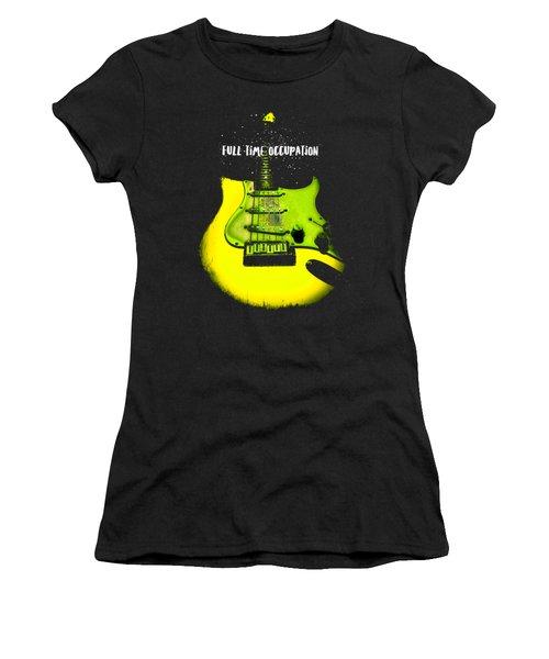 Women's T-Shirt featuring the digital art Yellow Guitar Full Time Occupation by Guitar Wacky