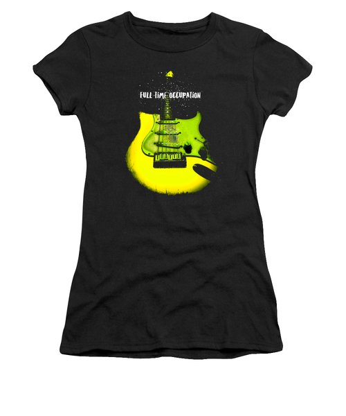 Women's T-Shirt (Athletic Fit) featuring the photograph Yellow Guitar Full Time Occupation by Guitar Wacky
