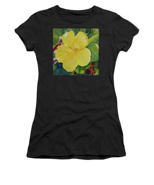 Yellow Hibiscus Women's T-Shirt (Athletic Fit)