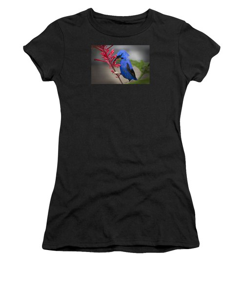 Yellow Legged Honey Creeper Women's T-Shirt (Athletic Fit)