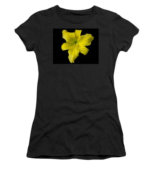Yellow Lily Flower Black Background Women's T-Shirt (Athletic Fit)