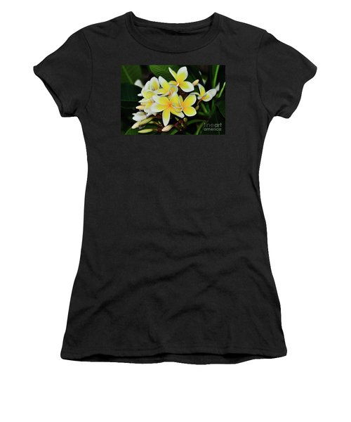 Women's T-Shirt (Athletic Fit) featuring the photograph Yellow Plumeria By Kaye Menner by Kaye Menner